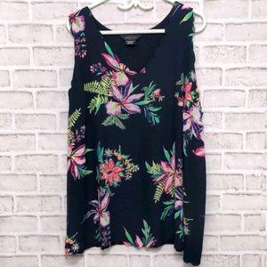 Michel Studio Floral Sleeveless Blouse Size 3x